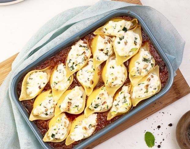 Gratin de conchiglioni aux aubergines à la parmesane