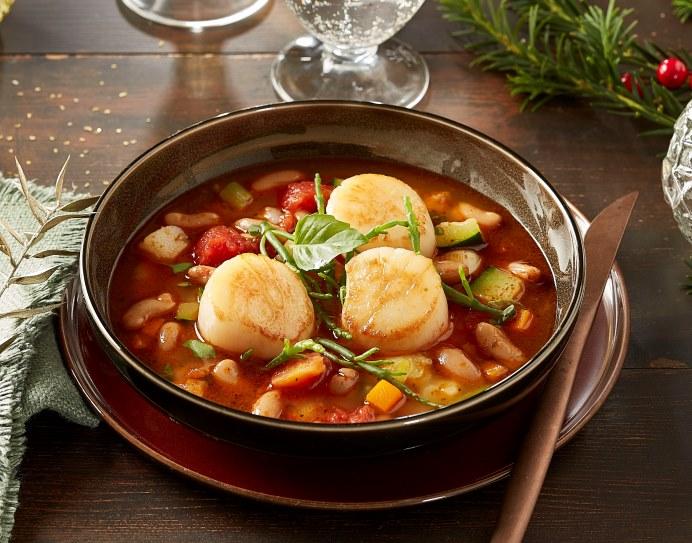 Soupe au pistou aux St Jacques rôties