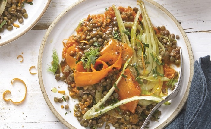 Salade de lentilles à la crème de carottes Bio