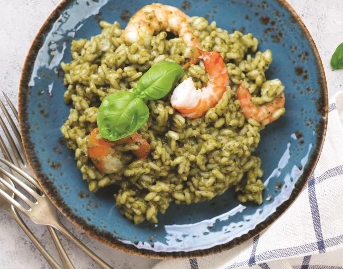 Recette de risotto au pistou et crevettes